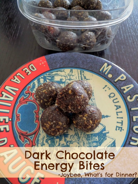 Dark Chocolate Energy Bites:  Healthy snack bites made with cocoa, nuts, seeds and dates.  No processed sugars.