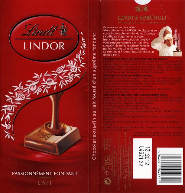 tablette de chocolat lait fourré lindt lindor lait 2