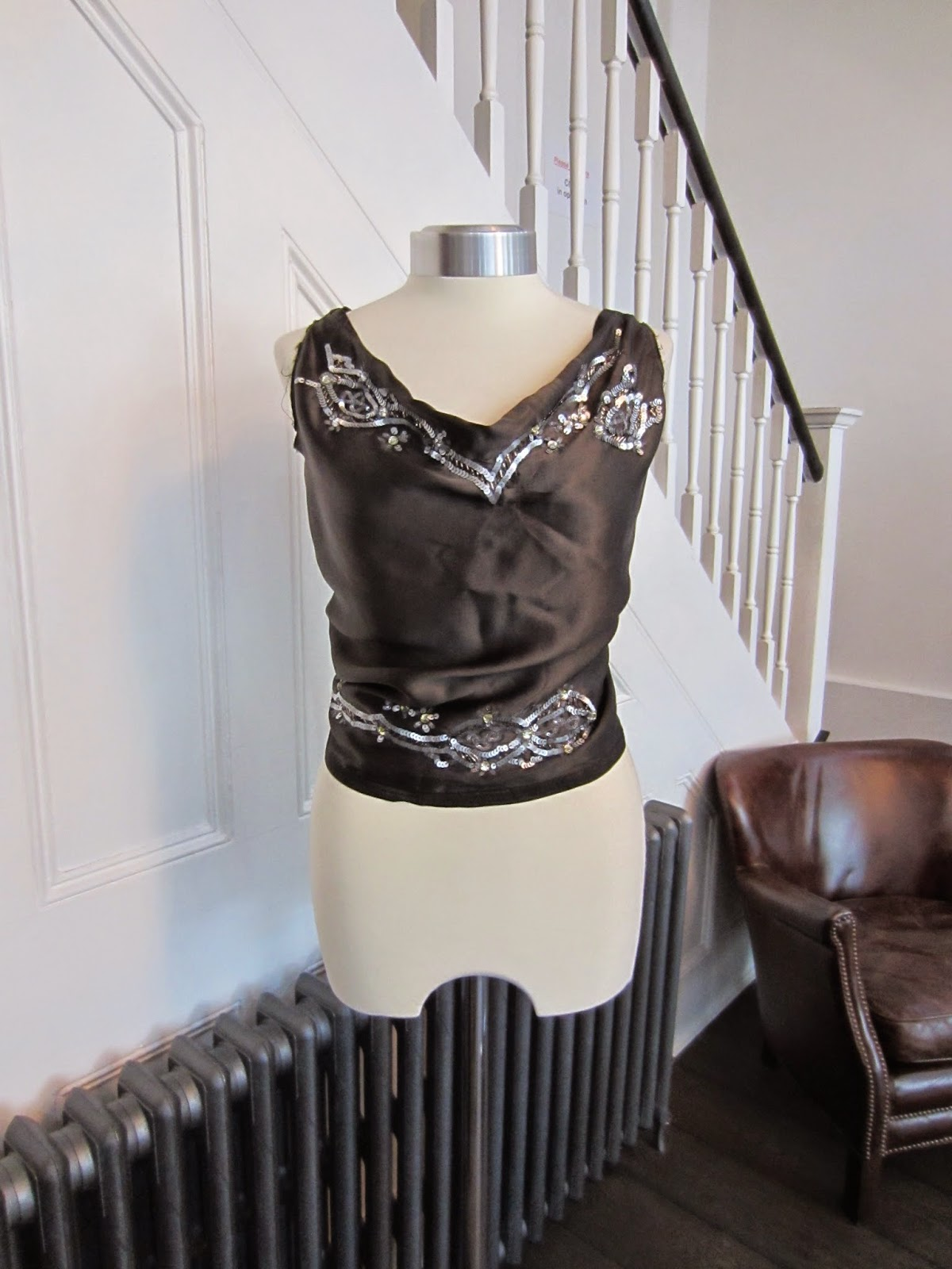 Mist Grey Satin Top with Sequin Trim