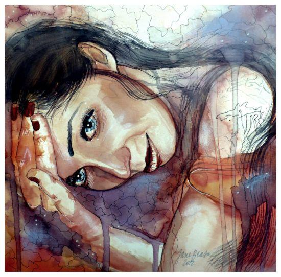 Jana Lepejova jane-beata deviantart pinturas aquarela mulheres olhares femininos Diferente
