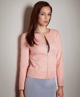 Jacheta moderna de stofa, roz, cu fermoar ( )