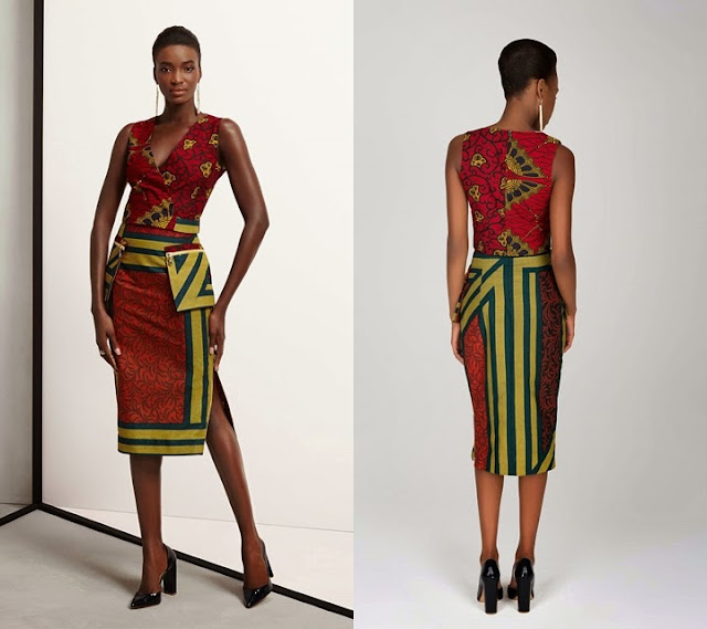2015 Vlisco African print dress with zip pockets..