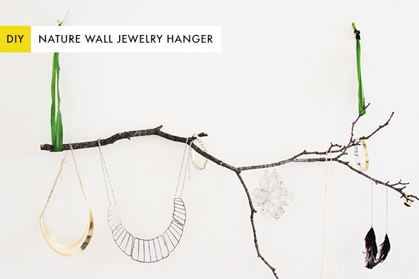 diy jewelry wall branch hanger