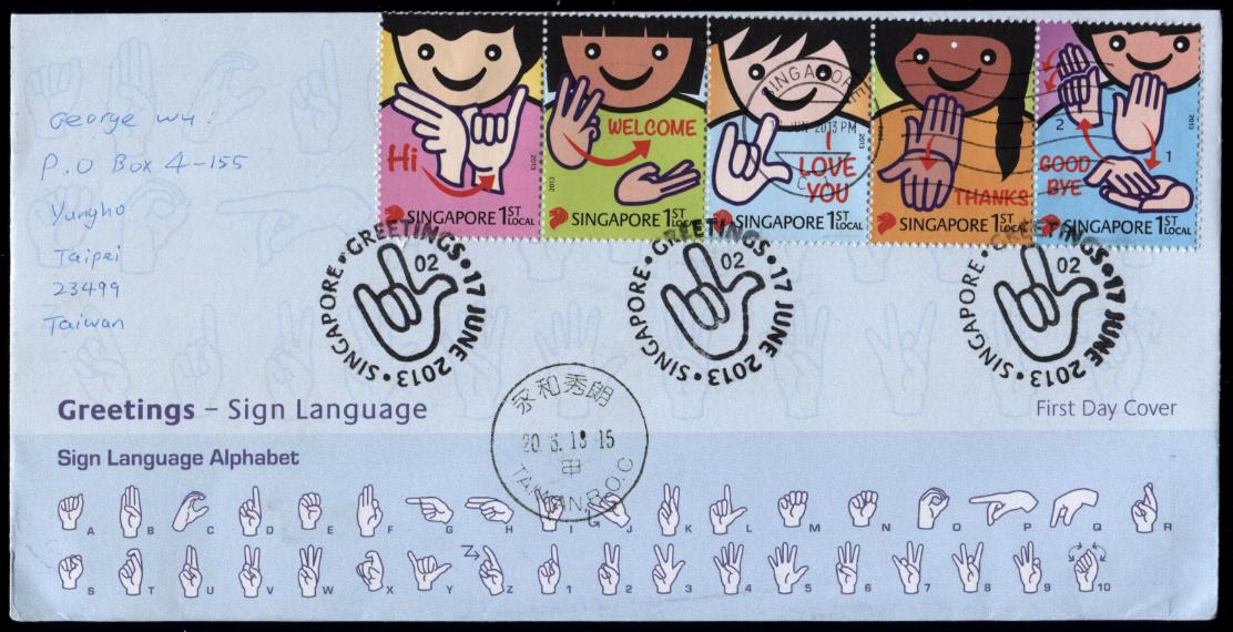 Gulfmann stamps collection singapore sign language fdc singapore greetings sign language fdc posted on june 17 2013 from singapore to taipei with arrival postmarked on june 20 2013 m4hsunfo