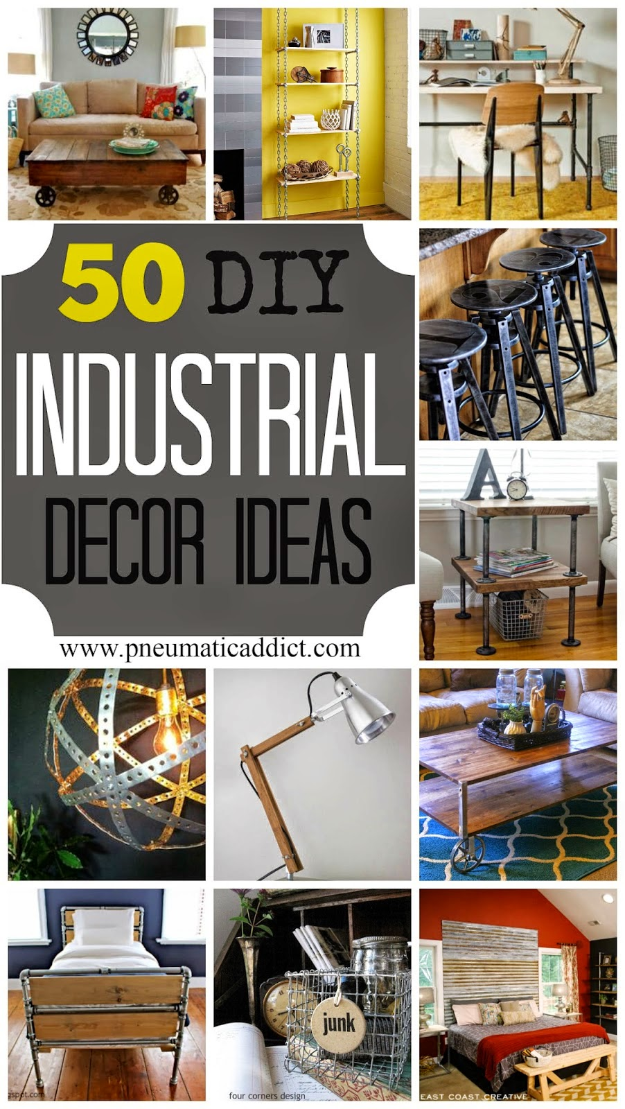 50 diy industrial decor ideas diy craft projects for Decoration ideas