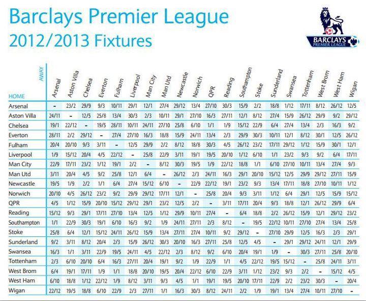 Fun & Entertainment: Premier League 2012/2013 fixtures Released
