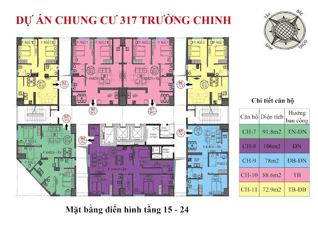 Mặt bằng thiết kế tầng 15-24 chung cư 317 trường chinh