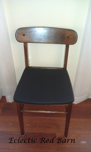 Refinished dollar chair with black leather seat