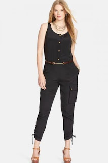 Lauren Ralph Lauren Scoop Neck Sleeveless Cargo Jumpsuit (Plus Size)