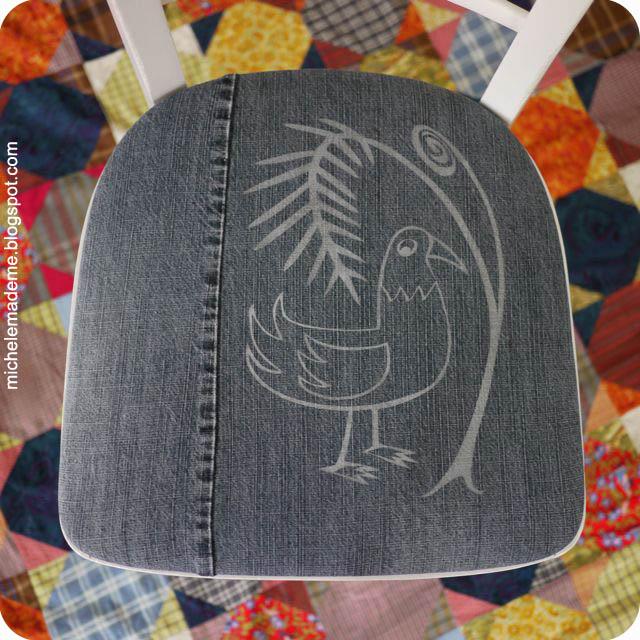michele made me drop dead denim fern 39 n bird chair cushion