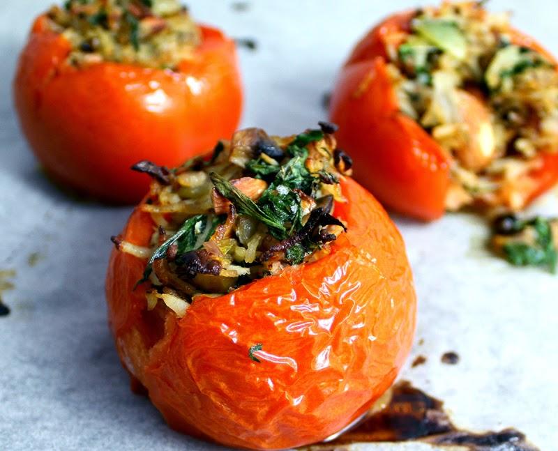 Oppskrift Gratinerte Ovnsbakte Tomater Stekt Ris