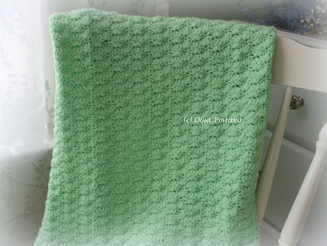 Crochet Stitches To Inches : Lacy Crochet: Shells Baby Blanket with Three Flowers, My Free Pattern