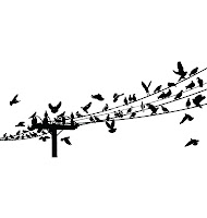 black and white drawing of birds sitting on power lines