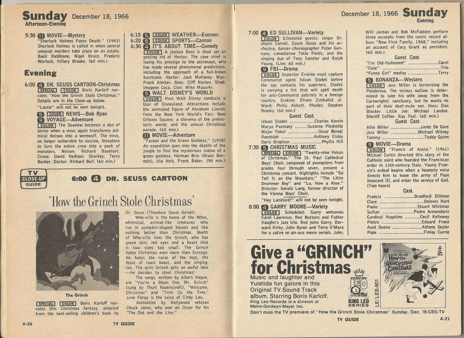 the issue of tv guide from that week december 17 23 1966 featured a close up of the special along with an ad for the soundtrack album in its local - When Does How The Grinch Stole Christmas Come On Tv