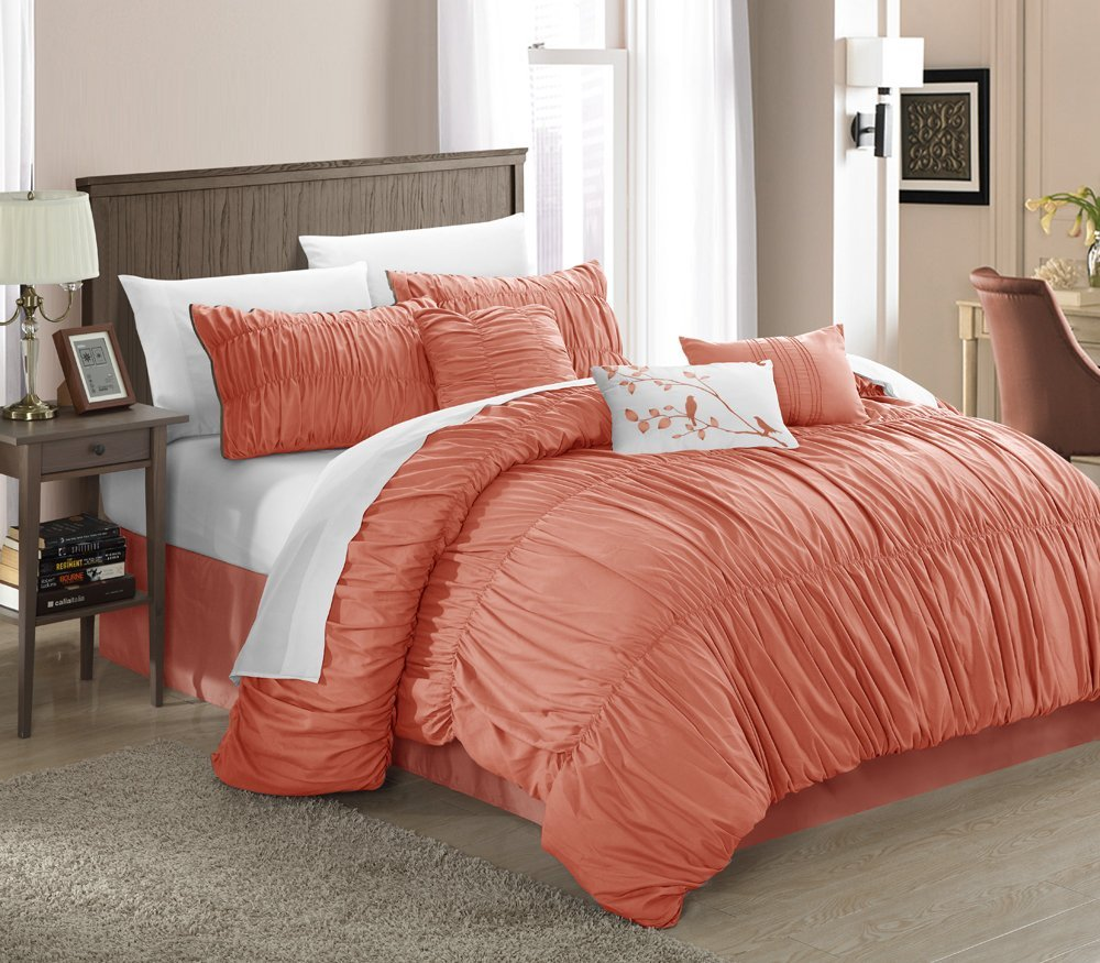 Peach colored comforters bedding sets for Bed settings