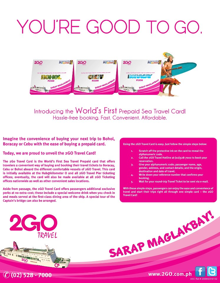 Cebu or Manila, this Prepaid Seat Travel Card introduced by 2GO Travel