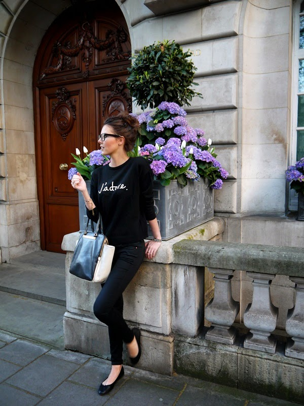 J'adore sweater and geek glasses with hydrangeas in Mayfair
