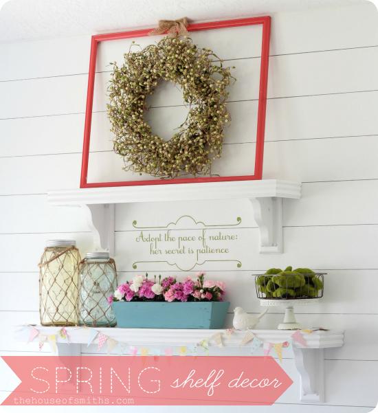 Spring shelf decorating fling link party