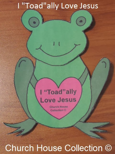 "I ""Toad""ally Love Jesus- Frog Valentine Heart Craft Cutout For Kids- For Sunday School, Children's Church or at Home"
