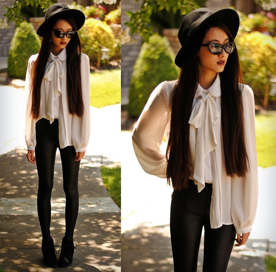 camisa de laço, legging de couro, chapéu