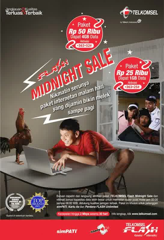 Paket telkomsel Flash-midnight flash unlimited