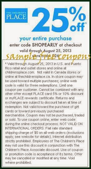 Children's place in store coupons august 2018