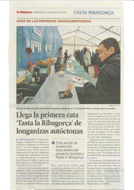 """Nota de premsa a la Manyana sobre la 1era cata """"Tasta la Ribagorça"""""""