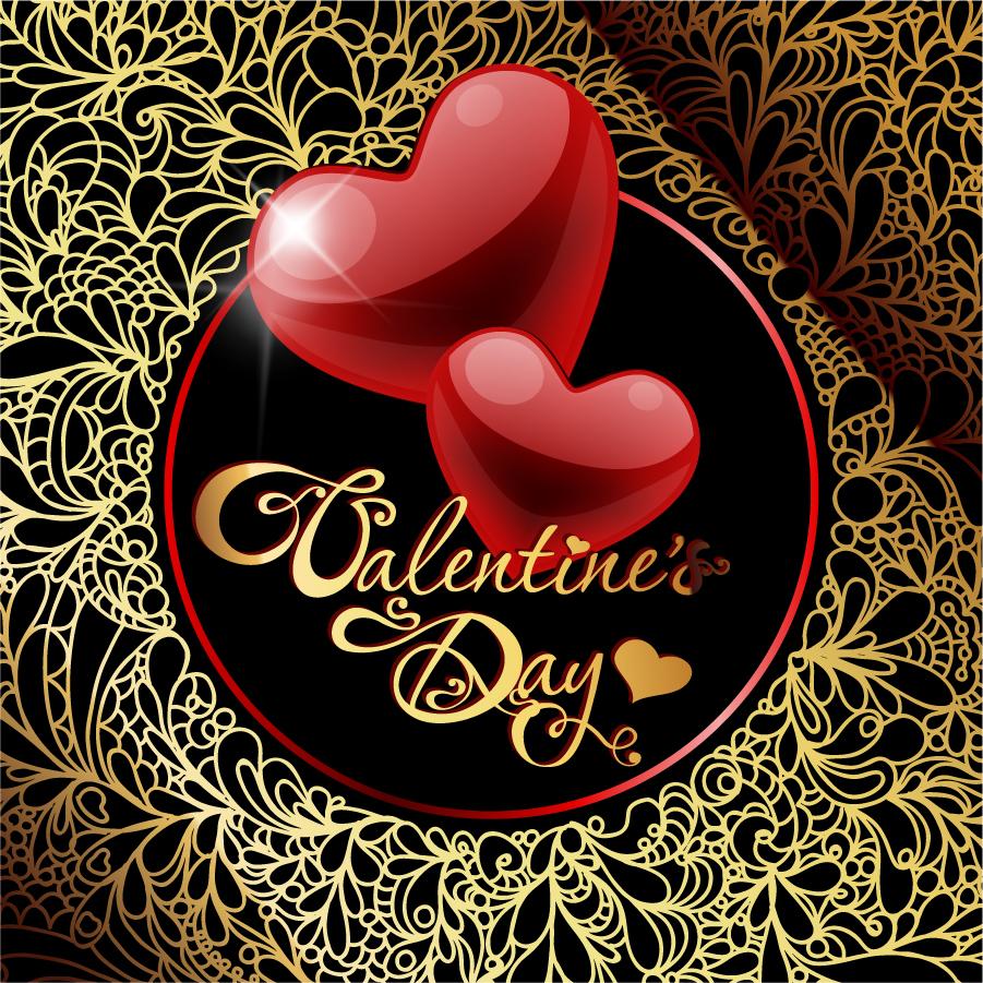 輝くハートのバレンタインデー背景 Heart retro valentine's day greeting card イラスト素材