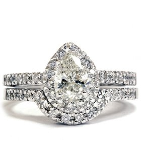 STUNNING 1.25CT Pear Shape Diamond Halo Engagement Wedding Ring Set 14K