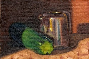 Oil painting of a zucchini beside a small silver-plated jug.