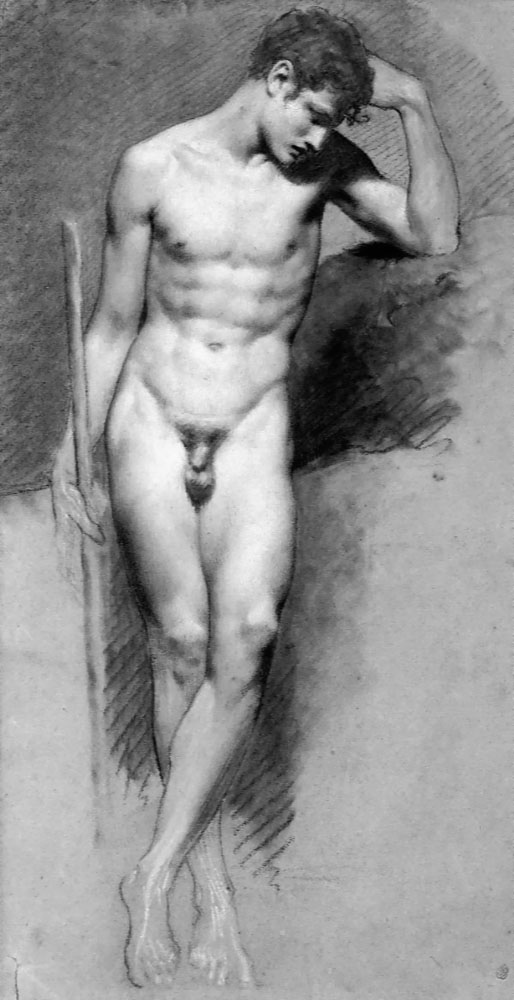 Standing male nude study by Pierre-Paul Prud'hon