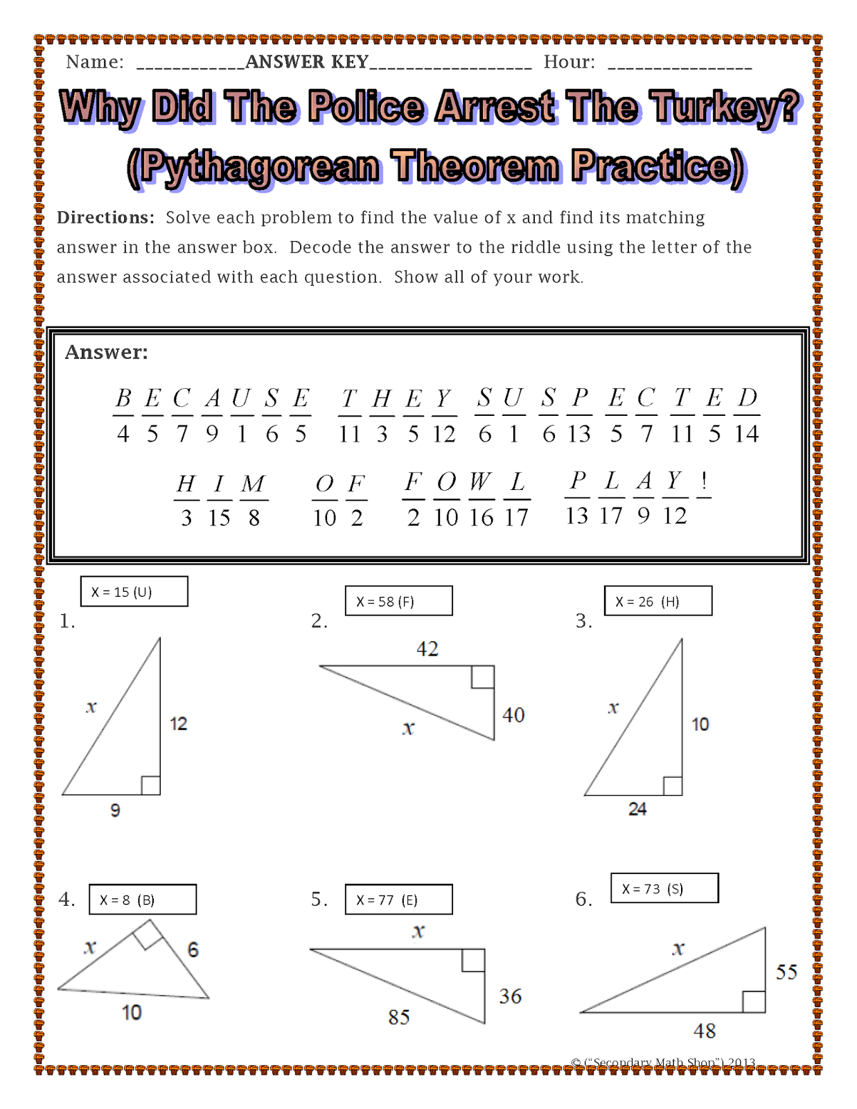 Pythagorean Theorem Puzzle Worksheet Davezan – Math Pythagorean Theorem Worksheets