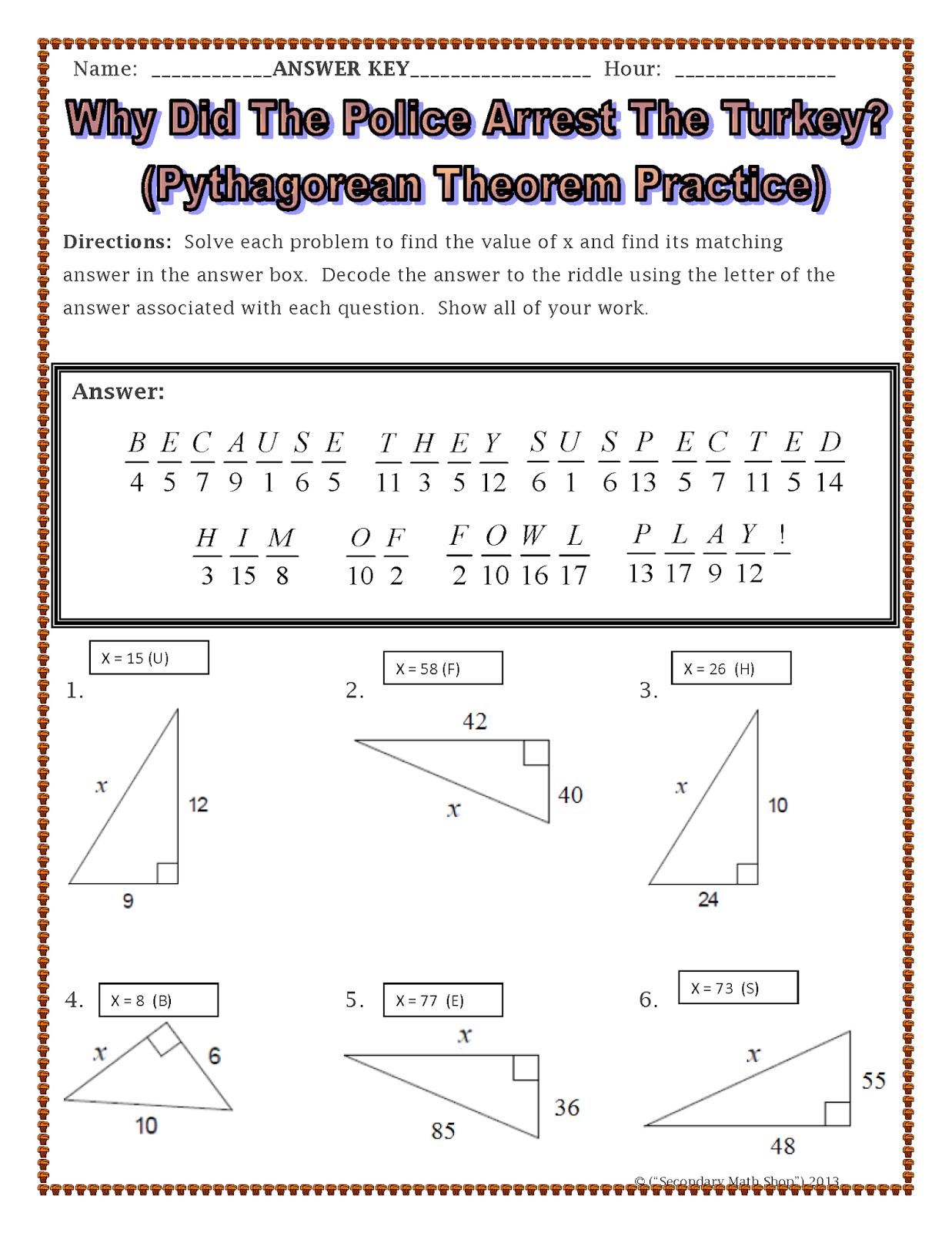 Pythagorean Theorem Puzzle Worksheet Davezan – Math Pythagorean Theorem Worksheets