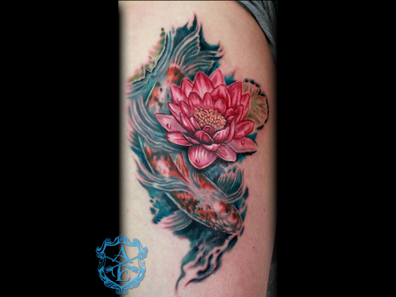 Arrows and embers custom tattooing lotus flower with koi fish lotus flower with koi fish tattoo done by sean ambrose at arrows and embers custom tattooing mightylinksfo Choice Image