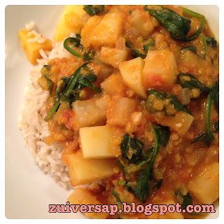 Curry met stevige groenten en linzen