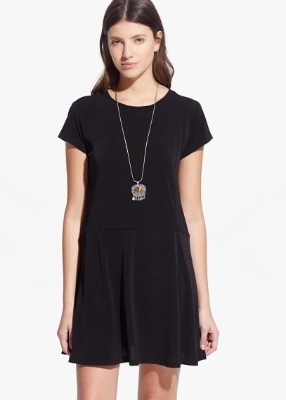 Mango 2015 Elbise Modelleri  rahat siyah renk elbise, kısa elbise, günlük elbise