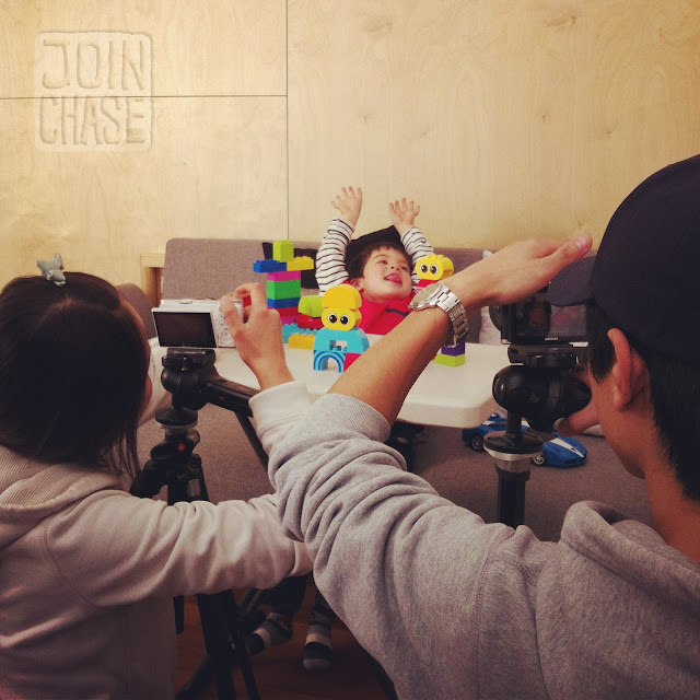 Behind the scenes of a photo shoot with a cute little boy in Seoul, South Korea.