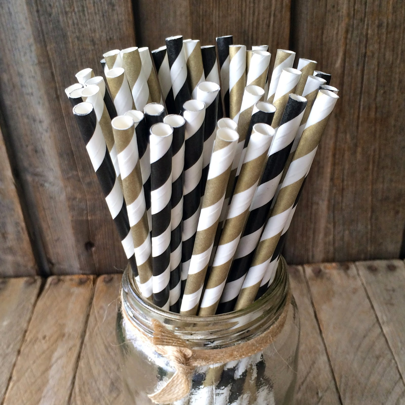 Black & Gold Striped Straws
