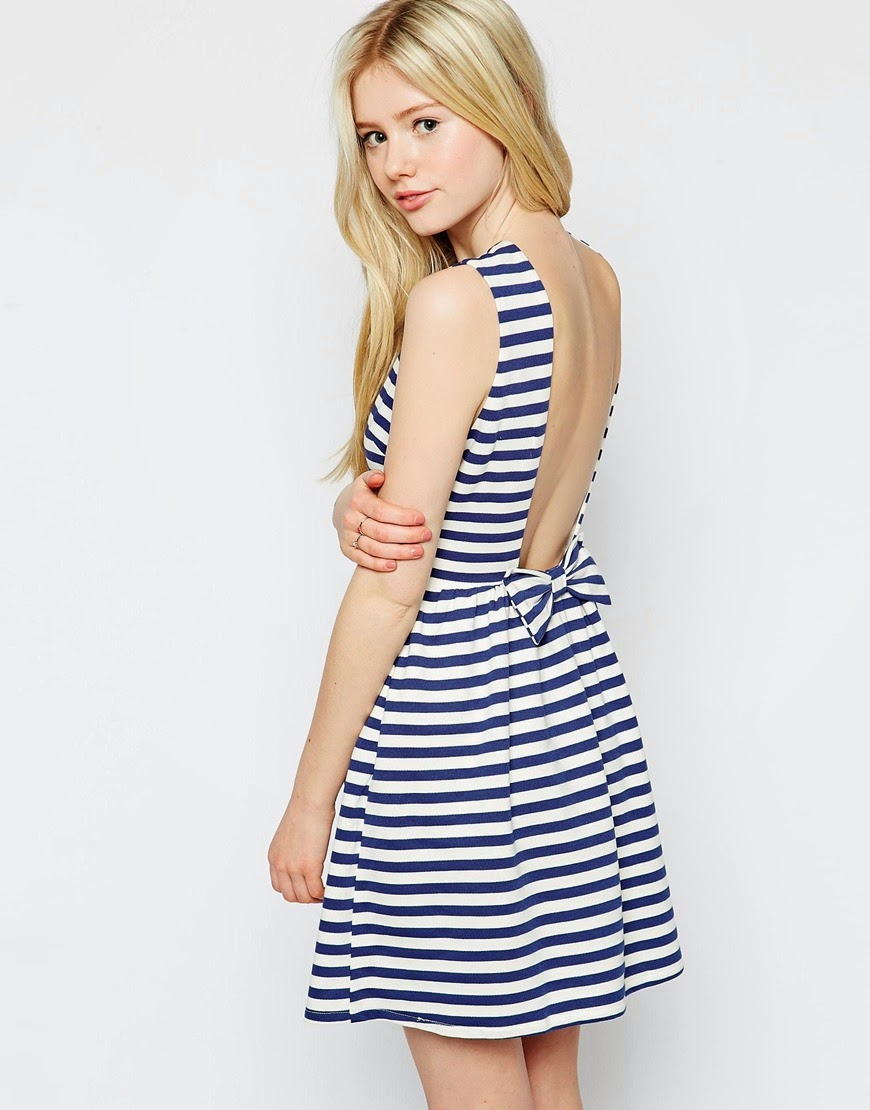 nautical stripe bow back dress