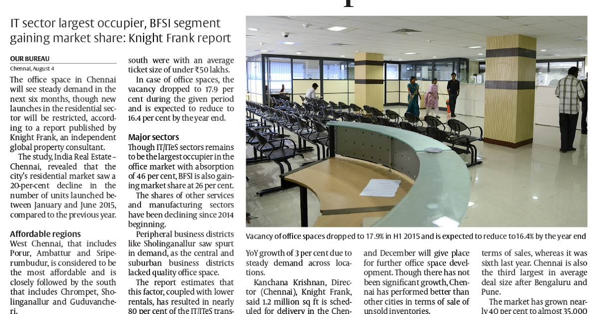 More Room For Office Space In Chennai  Hindu Business Line  Aug 05,  2015 Pg 19 | Real Estate Alerts