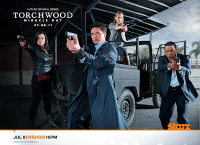Torchwood: Miracle Day Cast Photo - Eve Myles as Gwen Cooper, John Barrowman as Captain Jack Harkness, Alexa Havins as Esther Drummond & Mekhi Phifer as Rex Matheson