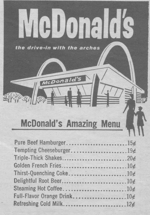 Original Mcdonalds Menu