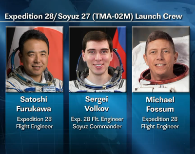 Expedition 28 to ISS, scheduled to fly in June 2011, 6 April 2011.