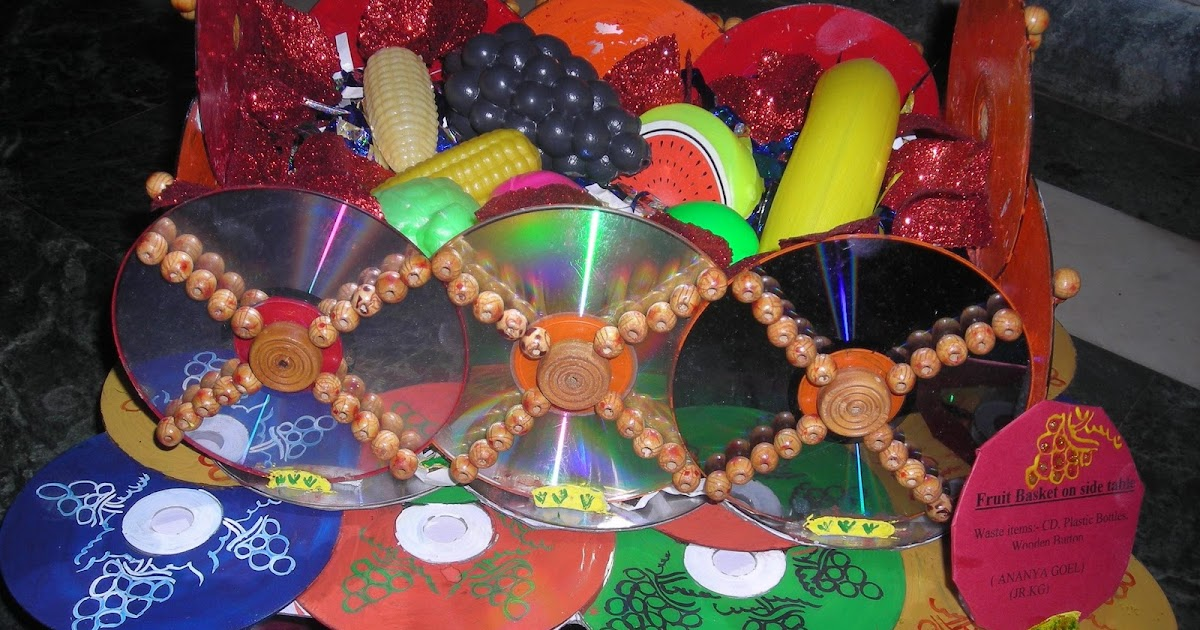 Anu 39 s art and crafts best out of waste fruit basket with for Best out of waste painting