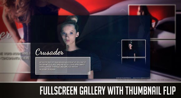 Fullscreen gallery with thumbnail flip