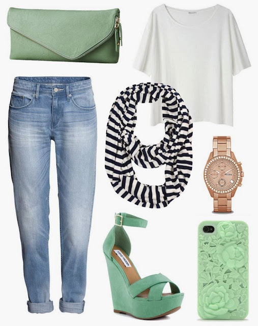 White shirt, scarf, jeans, handbag, high heel sandals and wrist watch