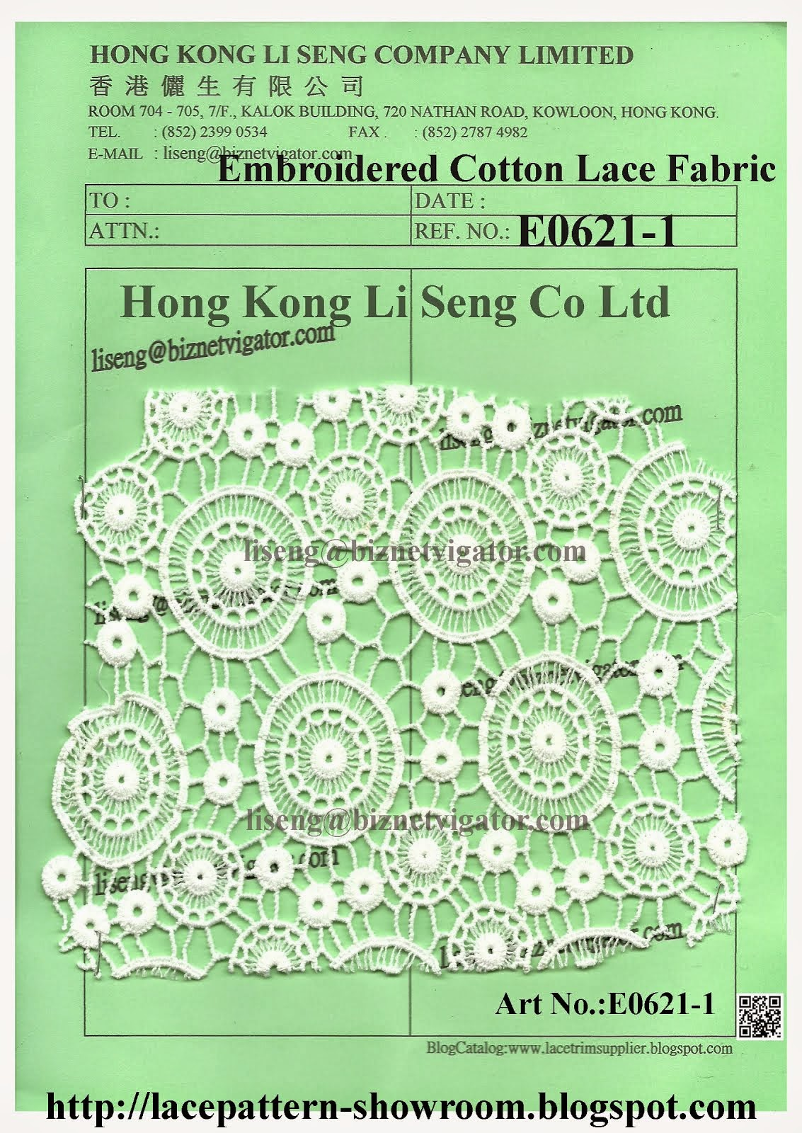 Embroidered Cotton Lace Fabric Wholesaler - Hong Kong Li Seng Co Ltd