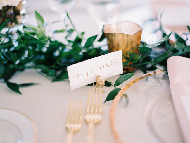 Place Card Calligraphy Gold Animal Placecard Holders