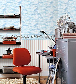 Boys room with cloud textured wallpaper