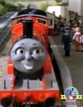James the train at Gordon express coach Knapford station platform collect passenger railway coachers